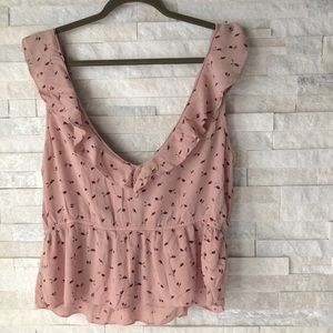 AMERICAN EAGLE OUTFITTERS | rose print ruffle top